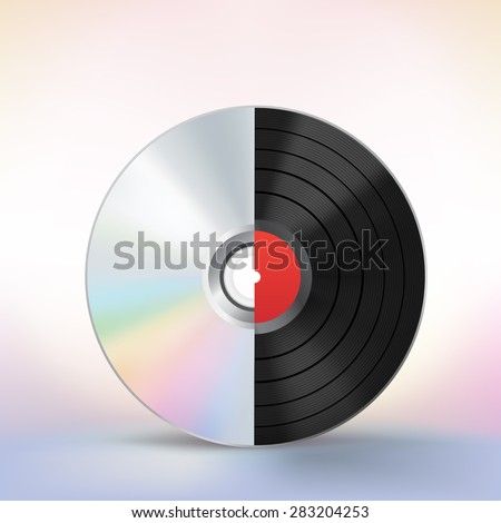 The evolution of the music disc on a colored mesh background - stock vector