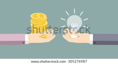 The exchange of ideas on the money. Vector illustration. - stock vector