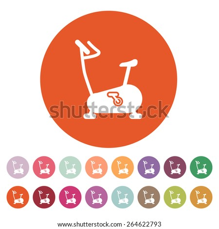 The exercise bike icon. Exercycle symbol. Flat Vector illustration. Button Set - stock vector