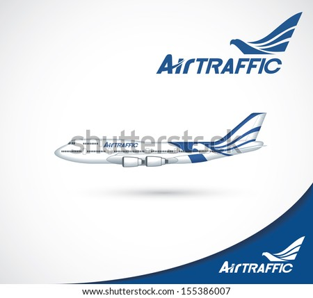The exterior printing design of aircraft - vector illustration - stock vector