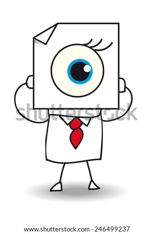 The eye. John Doe holds a sheet of paper on which is drawn an eye. The view is one of the five senses - stock vector