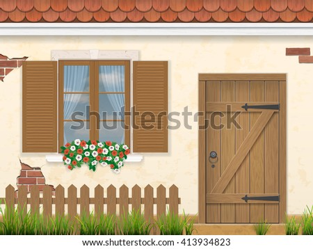The facade of the old building. Wooden window, door and fence with grass in the foreground. Traditional architectural style. Vector illustration. - stock vector