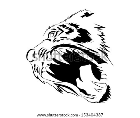 The face of a fierce tiger - stock vector