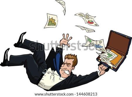 The falling man with documents vector illustration - stock vector