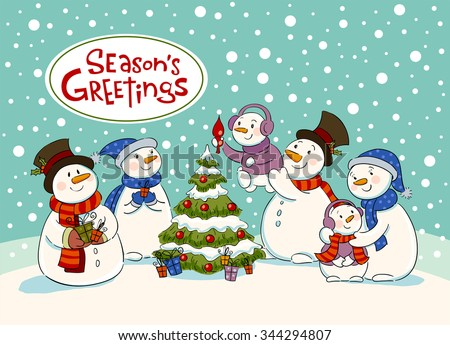 The family of snowmen dresses up a fir-tree , Vector illustration for banners, backgrounds and decorations. - stock vector
