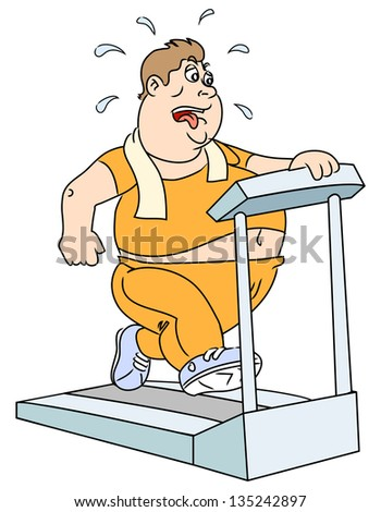 The fat man on the trainer treadmill. Vector illustration. - stock vector
