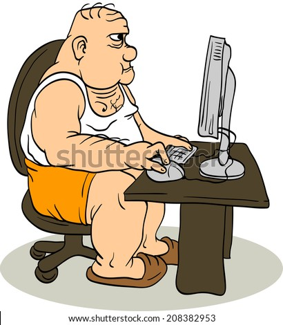 The fat man sitting at the computer. Internet troll. - stock vector