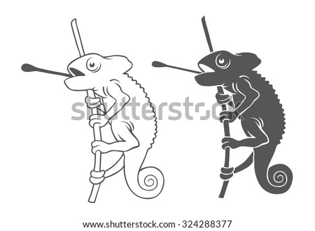 The figure depicts a chameleon on a branch - stock vector
