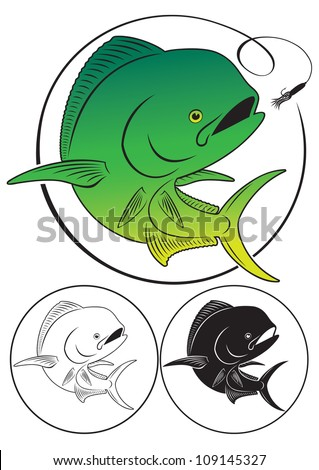 the figure shows a Dolphin fish - stock vector