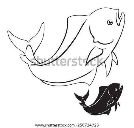 The figure shows a dorado fish - stock vector