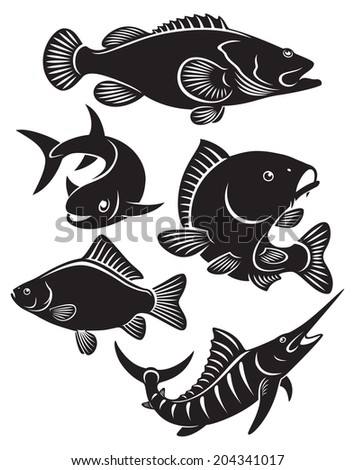 the figure shows a fish - stock vector