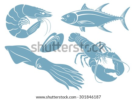 The figure shows seafood - stock vector