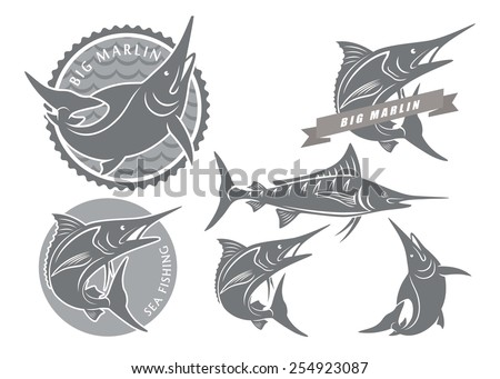 The figure shows the icons on the theme of marlin fishing - stock vector