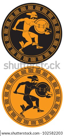 the figure shows the mythical hero Perseus and the Gorgon Medusa - stock vector