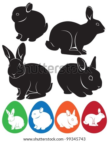 the figure shows the rabbit and Easter eggs - stock vector