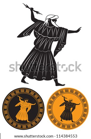 the figure shows Zeus with lightning - stock vector