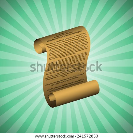 The first amendment on green background (with readable text) - stock vector