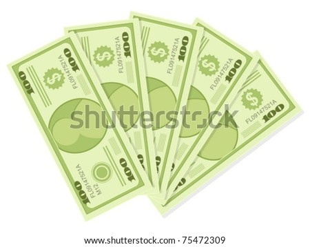 The five hundreds dollar banknotes isolated on a white background. Vector illustration. - stock vector