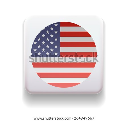 The flag is made in the form of a computer button for the web site. The national flag of the country. Illustration. Image. Icon. Vector. Flag of USA - stock vector