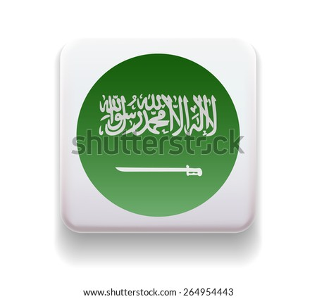 The flag is made in the form of a computer button for the web site. The national flag of the country. Illustration. Image. Icon. Vector. Flag of Saudi Arabia - stock vector