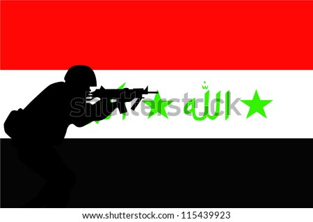 The flag of Iraq and the silhouette of a soldier aiming their weapon - stock vector