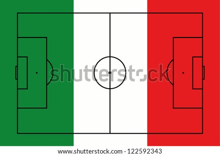 The flag of Italy with the outline of a football pitch on it - stock vector