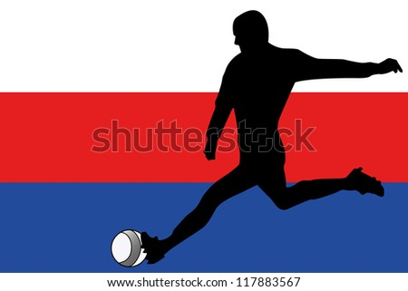 The flag of Serbia with a football player - stock vector