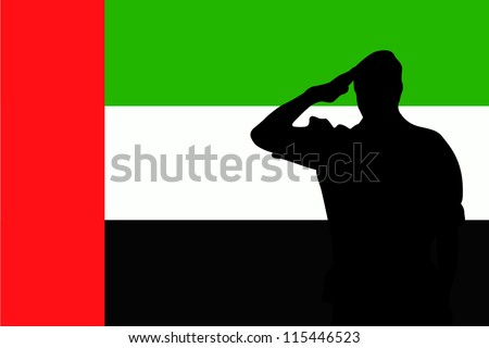 The flag of United Arab Emirates and the silhouette of a soldier saluting - stock vector