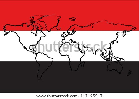 The flag of Yemen with the outline of the world - stock vector