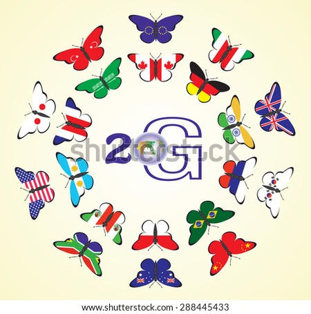 The flags of the countries of the G20 in the form of butterflies  - stock vector