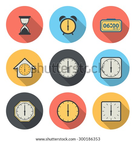 The Flat Circular Icon for Clock and Time Concept - stock vector