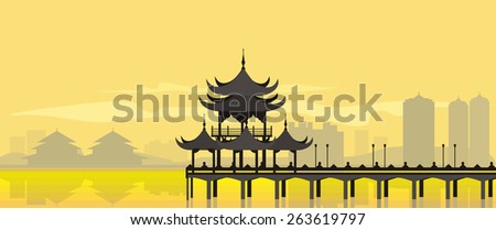 The flat design of the building in an asian style near the water in yellow. China National Building - stock vector