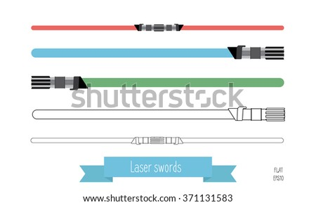 The flat illustration swords. Multi-colored flat swords and swords in the lines. - stock vector