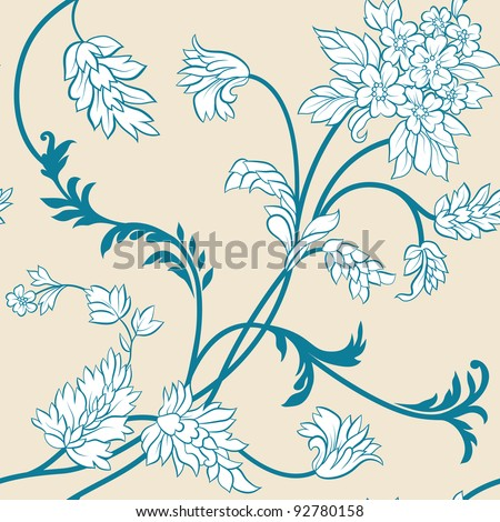 The  flower and  leafs on yellow background. Seamless - stock vector
