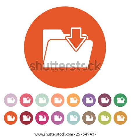 The folder icon. File download symbol. Flat Vector illustration. Button Set - stock vector