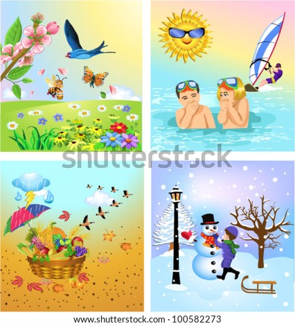 the four seasons - stock vector