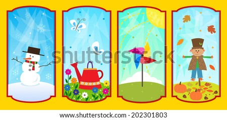 The Four Seasons - Cute conceptual illustration of the four seasons. Eps10 - stock vector
