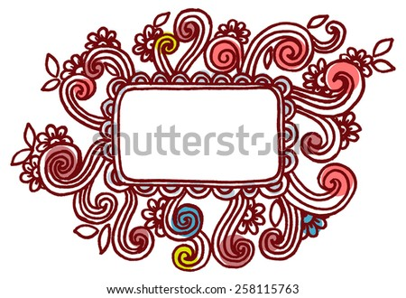 The frame with doodle flowers for card or other your design. Vector floral background - stock vector