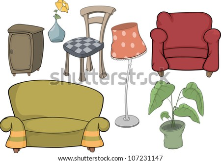 The furniture complete set - stock vector