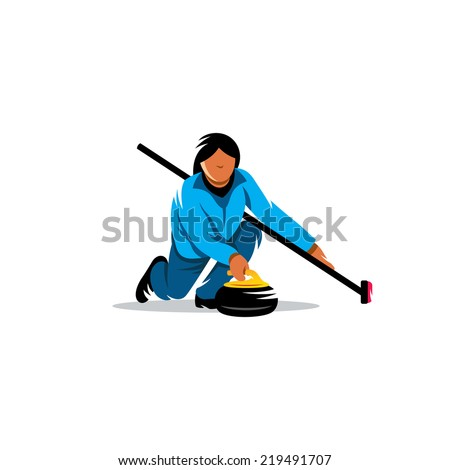 The game of curling Branding Identity Corporate vector logo design template Isolated on a white background - stock vector