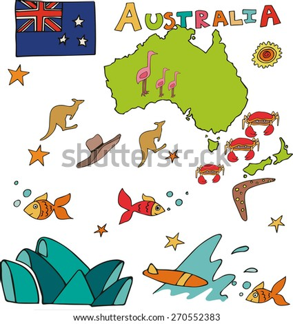 the geographic map of the national profile Australia - stock vector