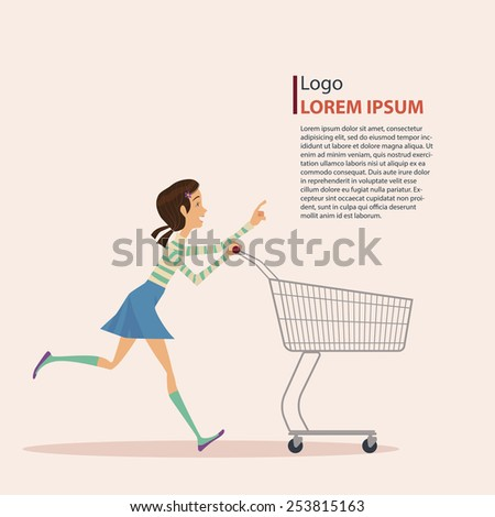 The girl in casual wear with shopping cart, art work, vector illustration. - stock vector