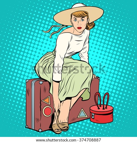 The girl passenger Luggage - stock vector