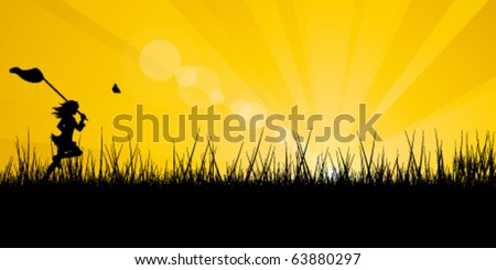 The girl runs on a meadow for butterflies.  Sunrise. - stock vector