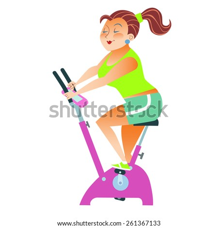 The girl with more weight training on a stationary bike - stock vector