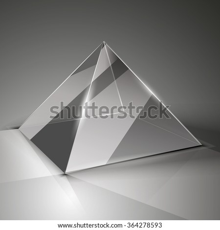 The glass cube on a transparent background with highlights. Glass pyramid isolated for your design.Logo. Ice. - stock vector