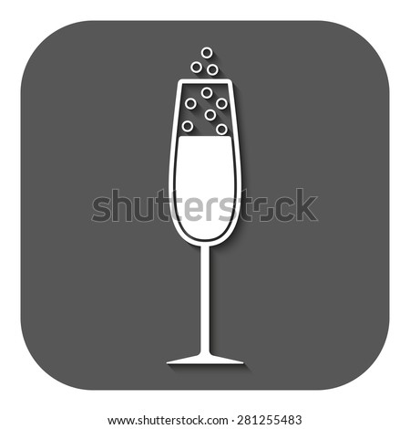 The glass of champagne icon. Wine symbol. Flat Vector illustration. Button - stock vector