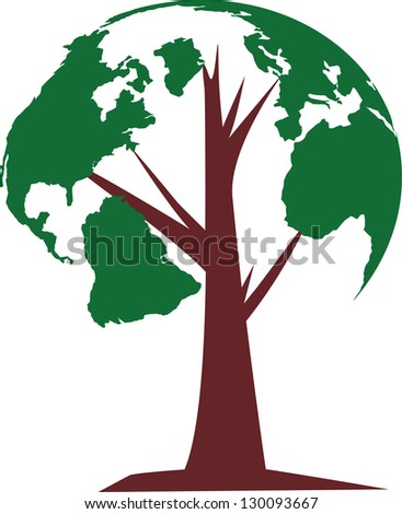 The globe growing in the branches of a tree - stock vector