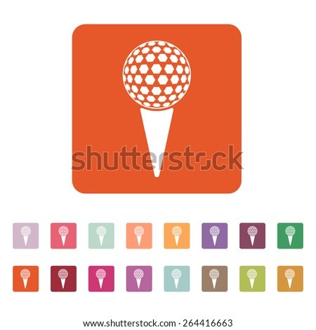 The golf ball icon. Game symbol. Flat Vector illustration. Button Set - stock vector