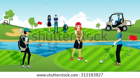 The golf tournament with athletes in the sport. - stock vector